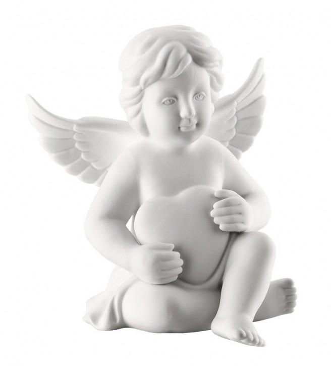 Rosenthal Engel Biskuit-Porzellan matt: Engel mit Herz mittel 10 cm