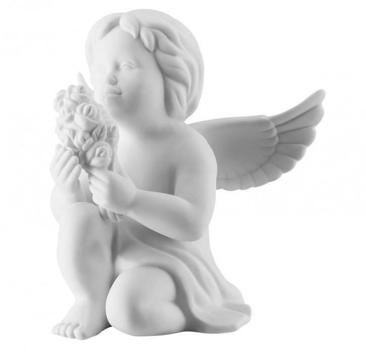 Rosenthal Engel Bisquit-Porzellan matt: Engel mit Blumen klein 6 cm