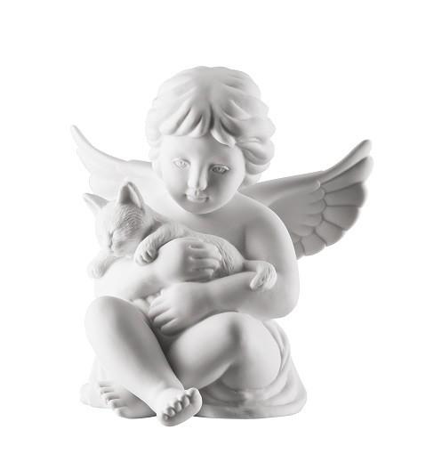 Rosenthal Engel Biskuit-Porzellan matt: Engel mit Katze mittel 10,5 cm