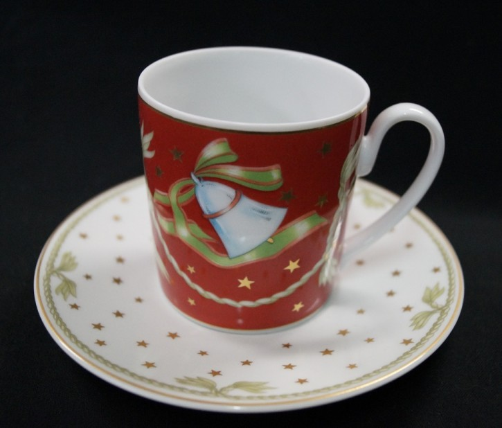 Thomas am Kulm Table Fashion Weihnachtsdekor - rot: Kaffeetasse 2-tlg. H = 7 cm; Durchm.: 6,7 cm; UT = 14 cm