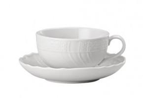 Hutschenreuther Dresden Weiss - Weiß: Teetasse 2-tlg.  Höhe = 5,5 cm; Durchm. = 9,5 cm; UT = 14 cm;