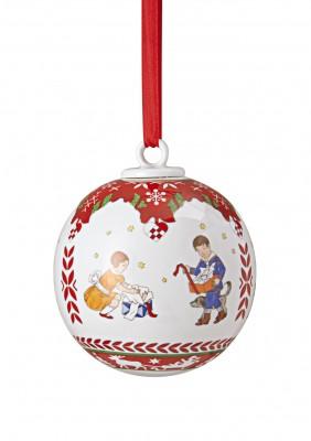 Hutschenreuther Adventszauber: Porzellankugel gross Motiv Bescherung