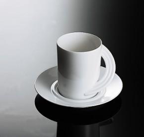 Rosenthal Cupola Weiss - Weiß: Kaffeetasse 2-tlg. 0,19 ltr. UT = 13 cm