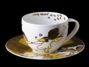 Rosenthal Andy Warhol-Collection Golden Angels X-Mas: Kombitasse 2-tlg. >>Herzen<<