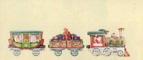 Hutschenreuther Nostalgische Weihnachten - Weihnachtsdorf - Porzellanzug: Kompletter Zug mit Lok, Geschenkewagen + Personenwaggon