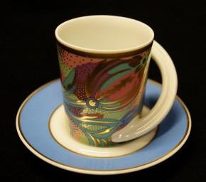 Rosenthal Cupola: Espresso Sammeltasse 2-tlg. Nr. 18 - Designer - Dekor: N. Akeren