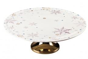 Rosenthal Solitaire Snowflake: Tortenplatte auf Fuß 33 cm - gold