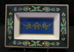 Rosenthal Pearlchina Aida Mayfair design Nina Campbell: Platte eckig, tief / Plater deep 25 x 27 cm