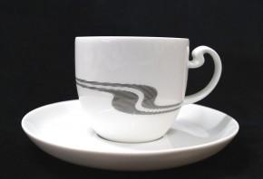 Rosenthal Asimmetria Grauraster auf Weiss: Kaffeetasse 2-tlg. UT = 14 cm