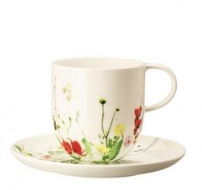 Rosenthal Brillance Fleurs Sauvages: Becher mit Henkel + passende Untertasse / Coup 14 cm