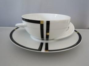 Rosenthal Cupola Nera: Suppentasse 2 tlg. 0,35 ltr.; UT = 17,5 cm