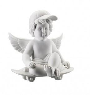 Rosenthal Engel Biskuit-Porzellan matt: Engel Skatebord gross 15 cm