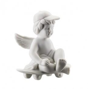 Rosenthal Engel Biskuit-Porzellan matt: Engel Skateboard klein 7 cm