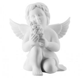 Rosenthal Engel Bisquit-Porzellan matt: Engel mit Blumen groß 14 cm