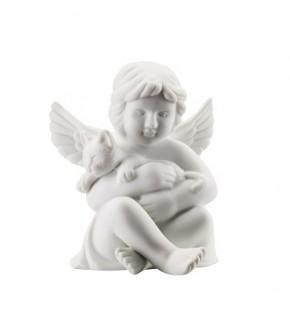 Rosenthal Engel Biskuit-Porzellan matt: Engel mit Katze 6,5 cm