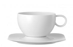 Rosenthal Free Spirit Weiss: Cafe au lait Tasse mit Untertasse (2-tlg.) 0,65 ltr., UT 19 cm quadratisch