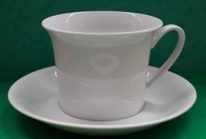 Rosenthal Idillio Weiss - Weiß: Frühstückstasse 2-tlg. 0,40 ltr. - Höhe = 8,3 cm, Durchm.: 11 cm, UT = 17,8 cm