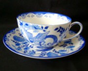 Rosenthal Else blaue Stunde, blauer Paradiesvogel - Fasan: Teetasse mit Untertasse