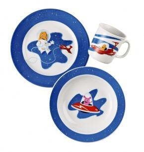Thomas Sunny Day Happy Kids - Tom, der Astronaut: 3-tlg. best. aus 1 Frühstücksteller 20 cm, 1 Becher mit Henkel 0,18 ltr. + 1 Schale 19 cm