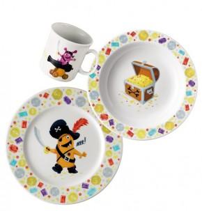 Thomas Sunny Day Happy Kids - Tom, der Pirat: Set 3-tlg. best. aus 1 Frühstücksteller, 1 Becher mit Henkel 0,18 ltr. + 1 Schale 19 cm