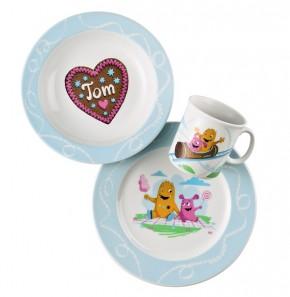 Thomas Sunny Day Happy Kids - Tom und seine Schwestern: Set 3-tlg. best. aus 1 Frühstücksteller, 1 Becher mit Henkel 0,18 ltr. + 1 Schale 19 cm