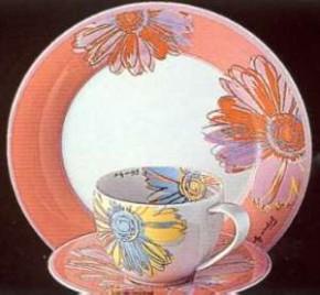 Rosenthal Yono Daisies: Frühstücksteller 23 cm / Fahne orange-bunt