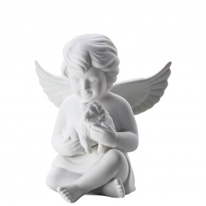 Rosenthal Engel Biskuit-Porzellan matt: Engel mit Hund 10 cm mittel