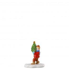 Hutschenreuther Sammelkollektion 2020 Weihnachtsmarkt - Figuren: Junge mit Baum (6,7 x 4,2 x 8,1 cm)