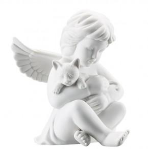 Rosenthal Engel Biskuit-Porzellan matt: Engel mit Katze groß 14 cm