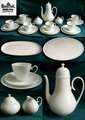 Rosenthal Romanze in Weiss - Weiß: Tortenplatte / Tart platter 33 cm